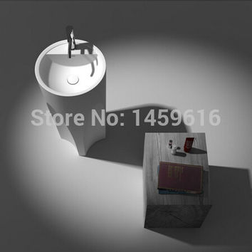Bathroom Round Pedestal Washbasin Solid Surface Stone Cloakroom standing Vanity Sink W9008