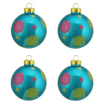 "4ct Turquoise Blue with Glitter Polka Dot Design Glass Ball Christmas Ornaments 2.5"" (65mm)"
