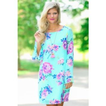 Everly Makes Me Happy Aqua Floral Print Dress