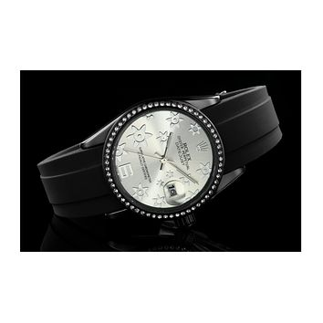 ROLEX men and women fashion quartz watch F-SBHY-WSL Black Case + Silver Dial + Silver Floral