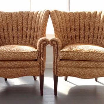 Vintage Sofa Chairs Pair Lounge Channel Back Mid Century Modern