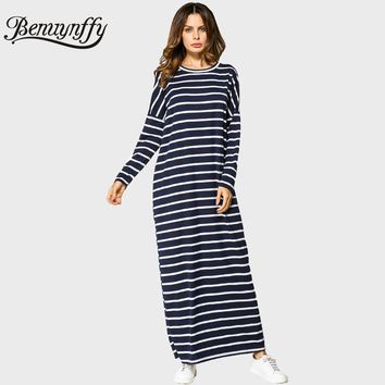 Benuynffy 2017 Autumn Womens Batwing Sleeve Long Dress Oversized Ladies Casual O-Neck Long Sleeve Striped Maxi Dress Q723