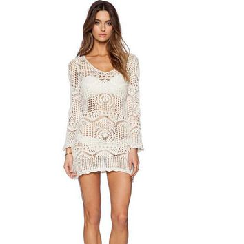 Crocheting Hollow Out Lace Long Sleeve Short Beach Cover Up Dress