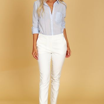 High Rise Straight Leg Trousers White