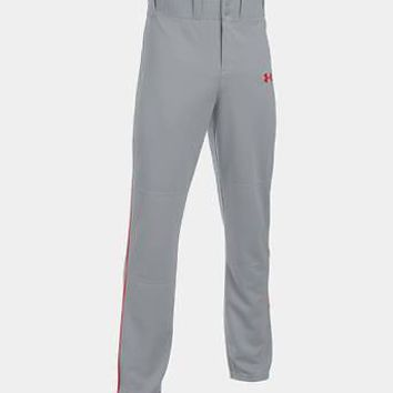 Under Armour Men's UA Clean Up Open Relaxed Baseball Pants Gray Red Piped