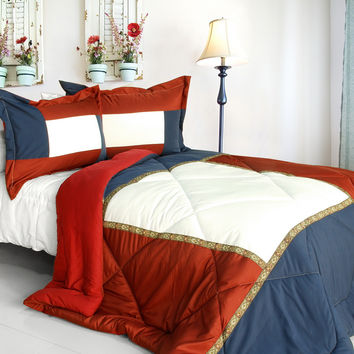 King and Queen Quilted Patchwork Down Alternative Comforter Set in Full/Queen Size