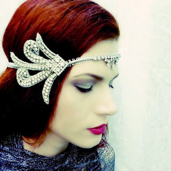Art Deco Rhinestone Headpiece - Swarovski Crystal Headdress - Vintage Wedding Flapper Costume