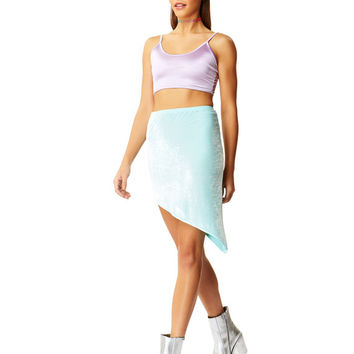 Pep Talk Lilac Satin Crop Top X American Deadstock
