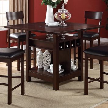 5 Piece Counter Height Dining Set w/ Built-in Lazy Susan