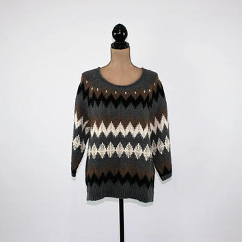 Chunky Sweater Women Pullover Warm Winter Sweater Large Gray Black Brown Zig Zag Tribal Sweater Thick Wool Cotton J Jill Womens Clothing