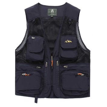 Mesh Vest Hollow Out Hole Casual Vests Male with Many Pockets Men Sleeveless Jacket Waistcoat Military Style Cargo Vest