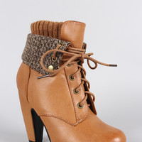 Bamboo Sweater Cuff Down Burnished Lace Up Heeled Booties