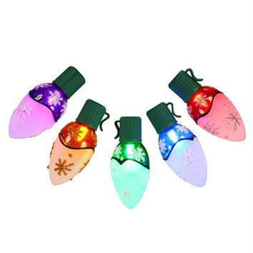 Multi-color C9 Christmas Lights - 10 Half-frosted Bulbs On Green Wire