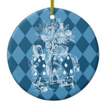 Card Men Wonderland Blue Christmas Ornament