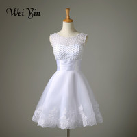 WeiYin 2016 New White/Ivory Short Wedding Dress The Brides Sexy Lace Wedding Dress Bridal Gown Vestido De Noiva Real Sample