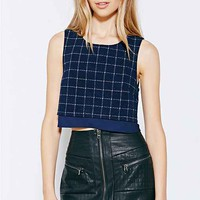 Cooperative Window Pane Cropped Top- Navy