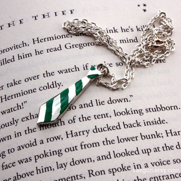 Harry Potter - Slytherin Ravenclaw Hufflepuff or Gryffindor Neck Tie Necklace