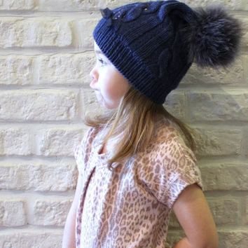 Girls cashmere merino knit hat / Fur Pom pom hat / Wool cable knit hat / Kids winter hat / Bobble hat blue / Recycled fur / Crystal applique