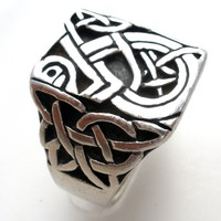 Vintage Celtic Knot Sterling Silver Ring Size 7.5