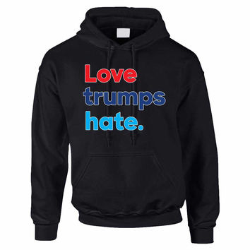 Adult Hoodie Love Trumps Hate Donald Trump USA Sweater
