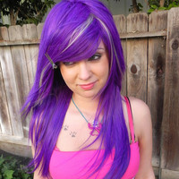 ON SALE Unicorn Locks / Purple and Blonde / Long Straight Layered Wig