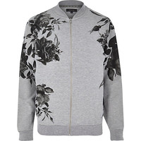 River Island MensGrey floral placement print bomber jacket