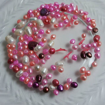 freshwater pearl mix in salmon, pink, white, cranberry, matching pearl hearts, branch coral, loose pearl mix