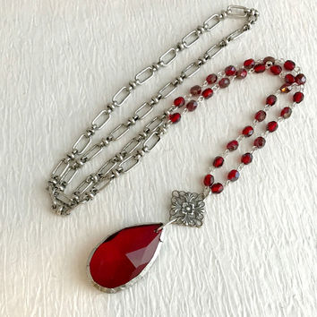 Soldered Red Crystal Rosary Necklace, long teardrop chandelier silver vintage beaded statement pendant assemblage fashion faceted gift gifts