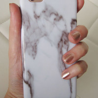 Faux marble white glossy boho iPhone 6 6S case marble stone swirl hard cover