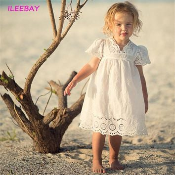 New Summer Lace Cute Girls Dress Kid Clothes Children Costume Korean Elegant Thin Solid Color Infant Party Cosplay Princess Gown