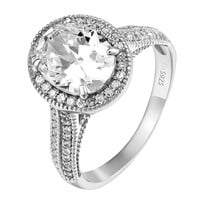 Solitaire 925 Silver Ring Womens Oval Cut Simulated Diamond Promise Engagement