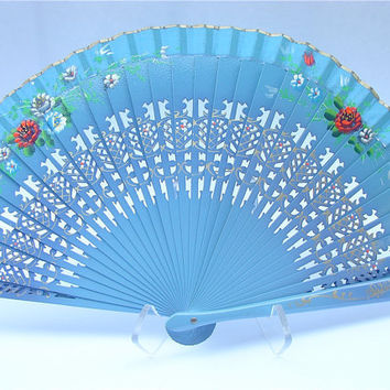 Blue Spanish Fan Handpainted Wood Hand Held by VillaCollezione