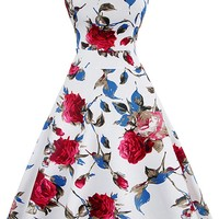 Atomic 1950's Vintage Red and White Rose Rockabilly Dress
