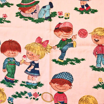 1970s Fabric Children Juvenile Novelty Large Print Fabric tennis, kick ball, girls boys