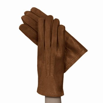 Tobacco Men's Leather Gloves Lined in Cashmere.