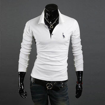 Men's Polo Shirt Slim Fit Long Sleeve Casual Temperament  Boy Tops UK 12-20 New