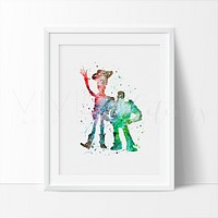 Buzz Lightyear and Woody 2 Watercolor Art Print