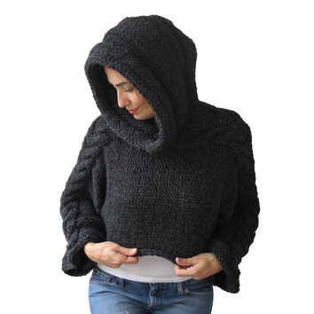Dark Gray Cable Knit Capalet with Hood by Afra by afra on Etsy