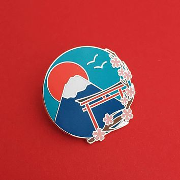 Japan Mount Fuji Cherry Blossom Enamel Pin