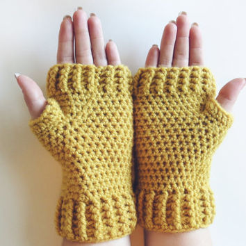 Yellow Mittens Crochet Fingerless Mittens Wrist Warmers Gloves in Yellow Mustard Cintrine