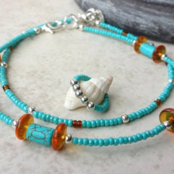 Anklet - Turquoise, Topaz Ankle Bead Wraps With Stretch Bead Toe Ring