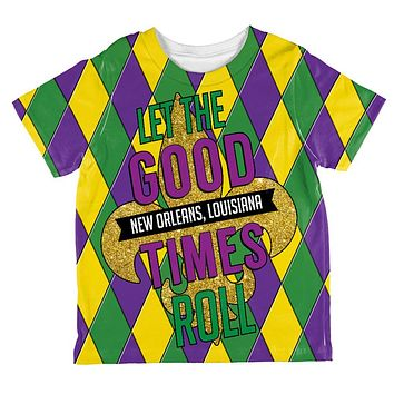 Mardi Gras Let the Good Times Roll Jester All Over Toddler T Shirt