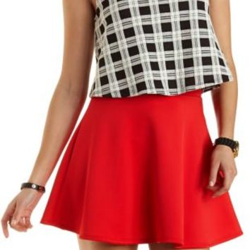 High-Waisted Skater Skirt by Charlotte Russe - Red