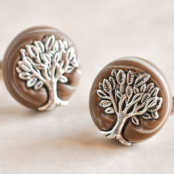 Tree of Life Wedding Cufflinks in Earthy Brown and by CreaShines