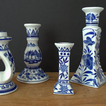 Chinoiserie Candle Holder, Blue and White Ceramic Candlesticks,  Collection of Ceramic Taper Candle Holders