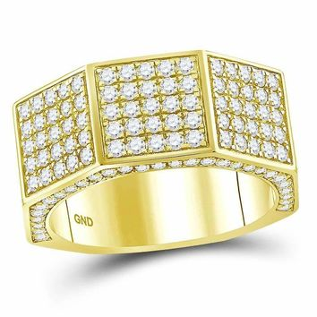 14kt Yellow Gold Men's Round Diamond Octagon Nut Faceted Band Ring 2-3-4 Cttw - FREE Shipping (US/CAN)