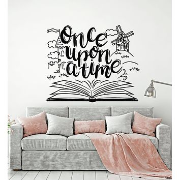 Vinyl Wall Decal Once Upon A Time Tale Book Library Nursery Kids Room Stickers Mural (g1507)