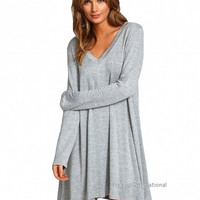Autumn new arrival Stylish Ladies Women Casual Long Sleeve V Neck Loose Solid Mini Straight Shift Dress Gray = 1838485700
