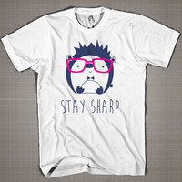 Hedgehog w Glasses  Mens and Women T-Shirt Available Color Black And White
