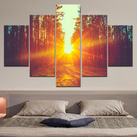 Yellow Forest Back light  Paintings For Home Decor Canvas Printed Large Wall Art  For Living room 5 pieces (Unframed)RA0107